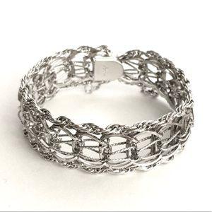 Vintage Sterling Silver Double Link Charm Bracelet